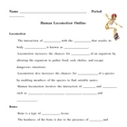 Human Locomotion Notes Outline Lesson Plan