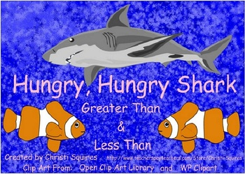Hungry, Hungry Shark Greater Than & Less Than SMARTBoard Lesson