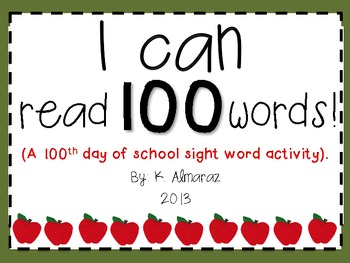 I Can Read 100 Words! (A 100th Day of School Sight Word Ac