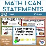 I Can Statements for 1st Grade! ALL Math Standards! CCSS!!