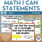 I Can Statements for 5th Grade! ALL Math Standards! CCSS!!