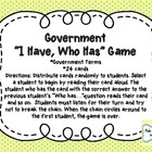 I Have, Who Has Government Game