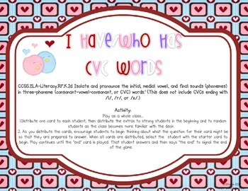 I Have/Who Has {CVC Valentine's Edition}