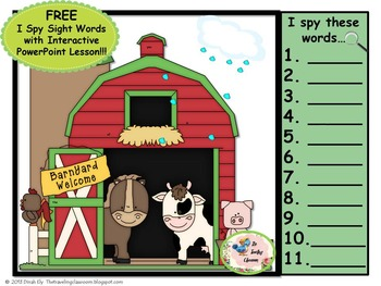 I Spy Sight Words An Interactive PowerPoint Lesson