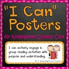 "Common Core Standards Posters (Kindergarten-- ""I can"")"