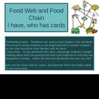 I have, Who Has - Food Web and Food chain flashcards