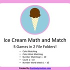 Ice Cream Math and Match Folder Game Set - 5 Games in 2 Folders