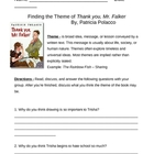 Identifying Theme Handout - Thank you Mr. Falker