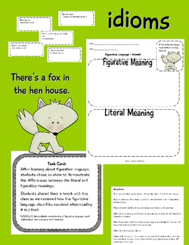 Idioms  Figurative Language Common Core Activity