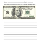 If I Had 100 Dollars (writing prompt for the 100th Day of School)