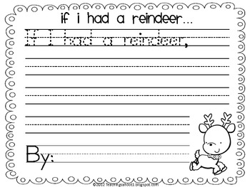 If I Had a Reindeer writing page