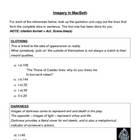 Imagery in Macbeth - worksheet and reference sheet