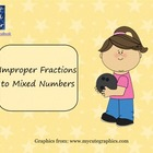 Improper Fractions to Mixed Numbers Smart Board Lesson