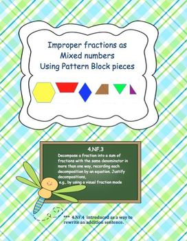 Improper Fractions with Pattern Blocks Task Cards 4.NF.3 G