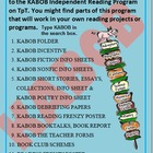 Independent Reading Program, fiction worksheets