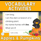 Inference, Key Details, and Vocabulary ~ Apples and Pumpkins
