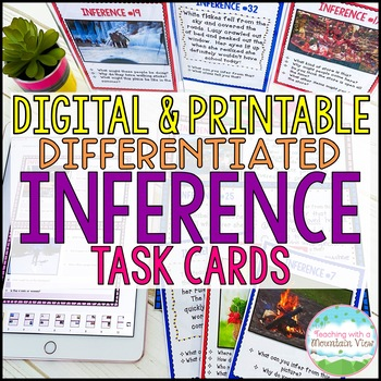 Inference Task Cards, Pictures and Text, Common Core Differentiated Instruction