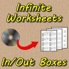 Infinite Worksheets: In & Out Boxes (50 Computer-Generated