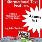 Informational Nonfiction Text Features Human Matching Test Prep