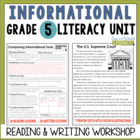 Informational Reading & Writing Unit: Grade 5...40 Lessons