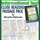 Informational Text CLOSE READING Passage Pack for Interact