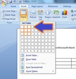 Inserting a Table into Microsoft Word: Assignment