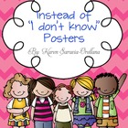 """Instead of """"I Don't Know"""" Wall Posters (Bulletin Board Set)"""