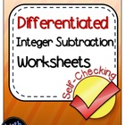Integer Subtraction Step by Step Activity - Differentiated