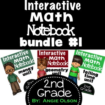 Interactive Math Notebooks Bundle (Money, Geometry, & Time)