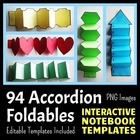 Interactive Notebook Templates - Accordion Pack - 94 Blank