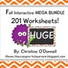 Interactive Worksheet Bundle: Fall Themed 201 pgs. Math an