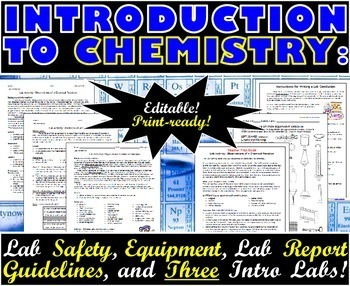 Introduction to chemistry lab safety equipment and three intro labs