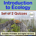 Introduction to Ecology Quiz or Homework Worksheet
