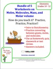 Introduction to Stoichiometry Worksheets Bundle of 5