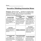 Inventive Thinking Extension Menu
