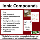 Ionic Compounds - Chemistry PowerPoint Lesson, Worksheet &