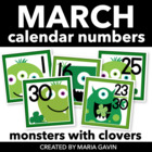 Irish Monsters Calendar Numbers