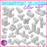 Isometric blocks for math - color and black line
