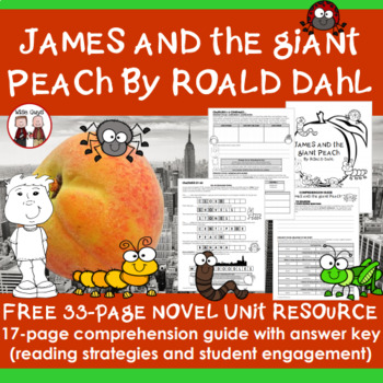 FREE James and the Giant Peach Reading Comprehension Activ