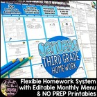 January Homework Menu Pack-Editable & Differentiated for E