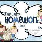 January Homework Pack for Kindergarten