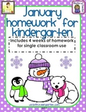 January Kindergarten Common Core Homework