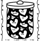 Jar of Hearts number word and color word practice (Valentines)