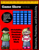 Jeopardy Game for Math - Decimals, Fractions, and Divisibility