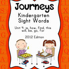 Journeys Kindergarten Sight Words: Unit 4: 2012 Edition