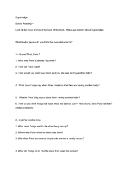 Superfudge Comprehension Questions Free