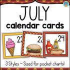 Calendar Cards Set - July