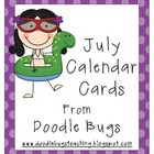July / Summer Calendar Cards * FREE *
