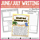 June/July Writing Activities Aligned to Common Core Standards