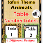 Jungle Themed Animals Table Number Labels (6 Different Designs)